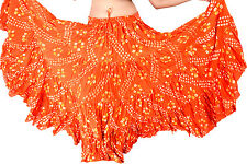 25 yard yards belly dance dancing cotton gypsy skirt Orange polka Dot ATS 37""