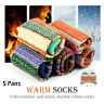 Pack of 5 Womens Wool Socks Cold Weather Vintage Soft Warm Socks Thick Knit Cozy