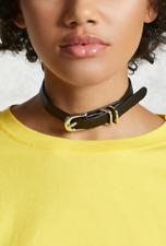 Forever 21 Buckle Faux Leather Choker Belt Black Collar BDSM Slave Necklace