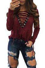 Maglia maglietta scollo aperta aderente Lacci Casual T-shirt Lace-up Knot Top M