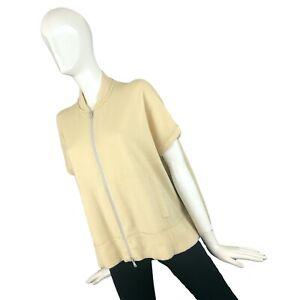 Brunello Cucinelli Women Cream CASHMERE Sweatshirt Cardigan Jumper Size M