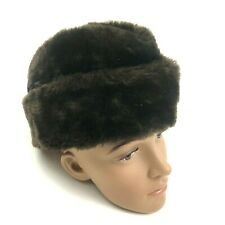 VINTAGE Faux Fur Envelope Hat Beanie Brown Cap Size Large 70's UNION MADE IN USA