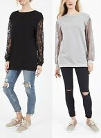 Womens NEW Long Lace Sleeve Jumper Sweater Top Black and Grey Size S/M to M/L