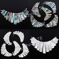 Natural New Zealand Abalone Shell 13Pcs Stick Beads Pendant Jewelry Set MBN096