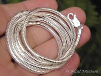 """3.0mm Snake Chain 16"""" (40cm) - 32"""" (80cm) - 925 SOLID Sterling Silver"""