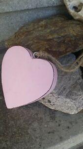 Herz Holzfigur Pastellrosa groß 15x16x2,5cm - wooden heart Hängedeko X-Mass
