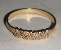 VINTAGE ANTIQUE SOLID 10K 10CT 416 GOLD LOVE HEART DIAMOND RING ART NOUVEAU