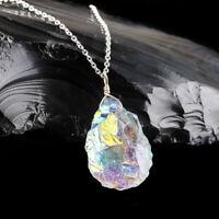 Aura Quartz Pendant Necklace 925 Sterling Silver Handmade Natural Raw Women Gift