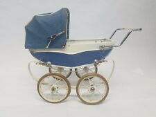 VINTAGE DOLL PRAM RED FRANCE BABY BLUE & WHITE-BUGGY CARRIAGE STROLLER Free S&H