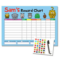 Personalised Blue Reward Chart - Kids Childrens Sticker Star Chart - Wipe Clean