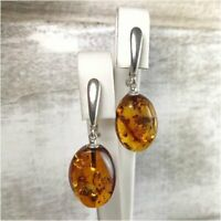 Baltic Amber Drop Earrings Sterling Silver Jewelry Handmade Anniversary Gift