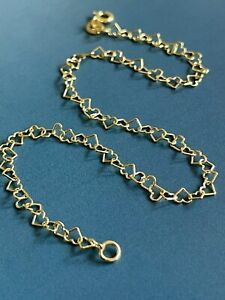 """9ct Yellow Gold Anklet Intertwined Heart Chain 10"""" Ankle Bracelet Hallmarked"""