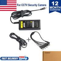 Security Camera Power Supply Adapter DC 12V 5A + 8 Port Splitter Cable for CCTV