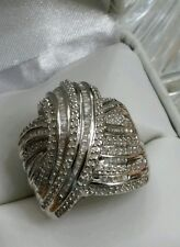 WOW! NEW LARGE STERLING SILVER  2 CARAT CT GENUINE DIAMOND COCKTAIL SWIRL RING 7