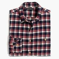 New Men's J. Crew Navy Blue Cream Plaid Flannel Shirt Sizes Large or X-Large