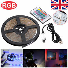5V 5050 USB LED Strip Lights TV Back Light Multi RGB Colour ChangingR +Remote UK