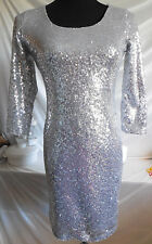 NWT - Midnight Doll - Silver Sequined Dress with Open Back - Junior Med.