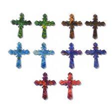 10 un. coloridas Resina Cruz Colgantes religión encantos Joyería haciendo 34.5x26.5mm