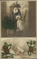 Christmas - Mother & Daughter w/ Teddy Bear Tinted Real Photo Postcard c1910