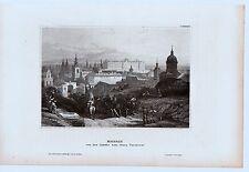 Madrid - Schloß und Stadt von Foncarral aus - Stich, Stahlstich um 1850