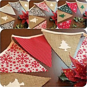 Christmas 3m Handmade Fabric Hessian Bunting 18 Flag Felt Christmas Trees Rustic