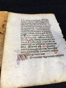 ILLUMINATED MANUSCRIPT LEAF c1480 Book Of Hours Original ANCIENT RELIC Vellum