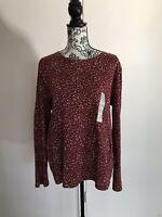 Croft & Barrow Size XXL Burgundy Floral Long Sleeve Cotton Pullover Blouse