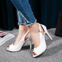 Womem Fashion Peep Toe High Slim Heels Buckle Pumps Stiletto Shoe Party Roman SZ