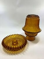 Vintage Indiana Glass Amber Diamond Point 2 pc fairy lamp and candle holder lot
