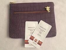 Sisley Purple Cosmetic Bag Polka Dot Lining + Skinleya Foundation SAMPLES