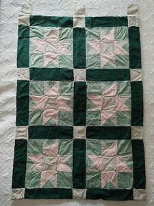 """Wall Hanging Quilt Six Squares Ohio Star Pattern Handmade 27"""" x 40"""" Pink Green"""