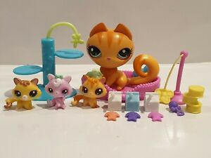 Genuine Littlest Pet Shop Magic Motion Mother Cat & Kittens Set Very Rare