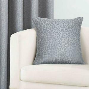 Grey Eyelet Curtains Leopard Animal Print Ready Made Lined Ring Top Curtain Pair