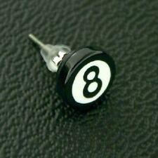 Neu Titan Titanium Ohrstecker Ohrringe Silber Billardkugel schwarz acht 8 Herren
