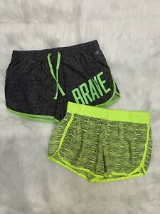 """Lot of 2!! Justice Girls Kids Athletic Shorts Green Gray """"BRAVE"""" Sz 16 X-Large"""