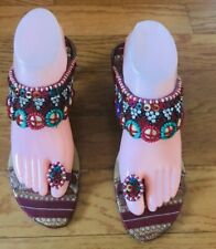 METRO Women Beaded Multicolored Handmade Sandals Size 39/8 8.5