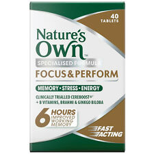 Natures Own FOCUS AND PERFORM 40 Tablets MEMORY STRESS ENERGY BRAHMI GINGKO