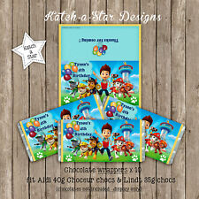 PAW PATROL PERSONALISED BIRTHDAY PARTY CHOCOLATE WRAPPERS X 10