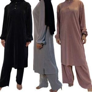 Muslim Women Long Sleeve Blouse Tops Pants Set Dubai Arab Kaftan Suits Two Piece