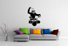 Wall Stickers Vinyl Decal Monkey Rock Music Drums Cool Room Decor (ig1006)