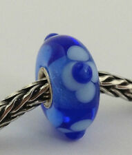 Authentic Trollbeads Ooak Murano Glass Unique Blue Flowers Bead Charm, New