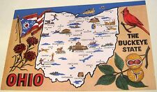 United States Ohio The Buckeye State Map ODK530 Curteich - unposted