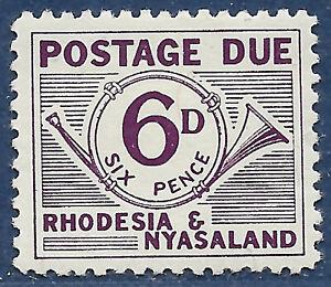 Rhodesia & Nyasaland sg D4 MH 1961 6d purple Postage Due