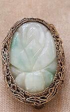 """ANTIQUE CHINESE Carved JADE & SILVER Filigree Fur Dress CLIP 1-3/8"""" x 7/8"""""""