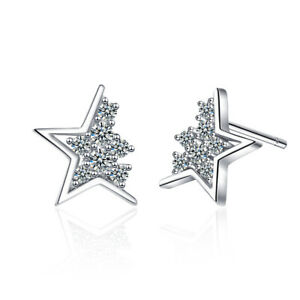 NEW Fashion 925 Sterling Silver Natural Zircon Star Ear Stud Earrings For Her