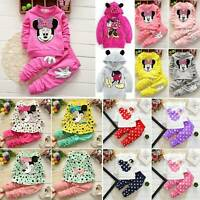 Kids Baby Girls Minnie Mouse Hooded Sweatshirt Top Pants Tracksuit Outfits Sets
