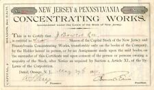 Thomas A. Edison signed New Jersey and Pennsylvania Concentrating Works