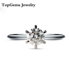 Real 925 Sterling Silver 5mm 0.5ct Round cut DF Mossanite Diamond Wedding Ring
