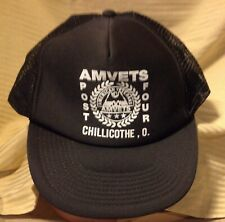 Vintage Amvets Post 4 Chillicothe OH Snapback Trucker Farm Hat 100% To Vets