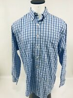 Brooks Brothers Men's Blue Plaid Check Cotton Casual Shirt Large L Long Sleeve